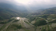 Beautiful aerial view of terraced rice fields in China Stock Footage