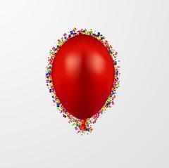 Vector modern ballon with confetti on white Stock Illustration