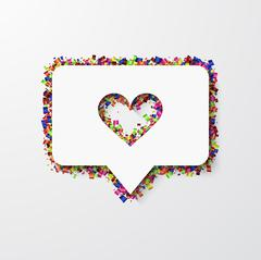 Vector modern heart with confetti on white Piirros