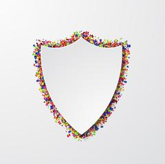Vector modern shield with confetti on white Stock Illustration