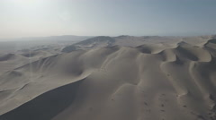 Beautiful desert landscape in China, aerial drone shot with sun flares Stock Footage
