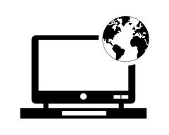 Laptop and earth globe icon Stock Illustration