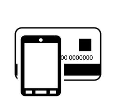 Credit or debit card and cellphone  icon Stock Illustration
