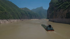 River transportation, ferry with boats trucks sails over Yangtze in China Stock Footage