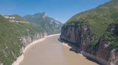 Aerial view of spectacular Three Gorges mountain landscape Yangtze river China Stock Footage