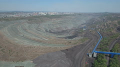 Aerial view of a massive open coal mining pit, heavy industry in China Stock Footage