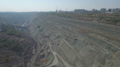 Panoramic aerial view of huge open coal mine pit in Liaoning, China Stock Footage