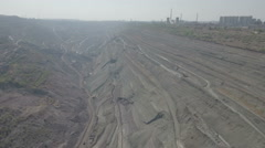 Aerial view of coal mine pit, environmental damage, heavy industry China Stock Footage