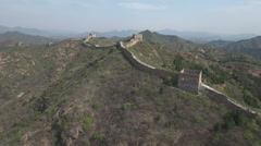 Aerial view of the majestic Great Wall of China in mountain landscape Stock Footage