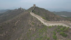 Aerial drone flight over decaying part of Great Wall of China Stock Footage