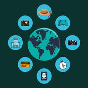 Earth globe and travel related icons Stock Illustration