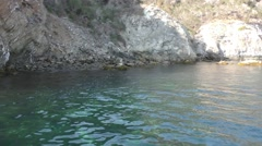Stand up paddle boarder floating in crystal clear Catalina water in a cove. Stock Footage