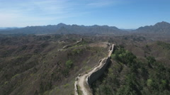 Aerial view of a crumbling part of the Great Wall of China Stock Footage