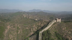 Aerial drone flight over beautiful landscape and Great Wall of China Stock Footage