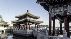 Walking towards Five Dragons Pavilions in Beihai Park, Beijing, China Stock Footage