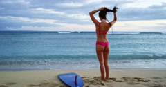 Surfer Girl Beach Lifestyle Stock Footage