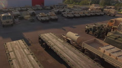 Flyover Military Depot at Sunset Stock Footage