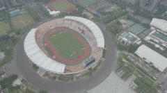 Aerial view of the home stadium of Guangzhou Evergrande Football Club China Stock Footage