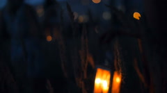 Beautiful girls walking in the field - in the hands holding candle lanterns Stock Footage