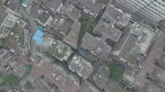 Overhead aerial footage of an old residential neighborhood in Guangzhou China Stock Footage