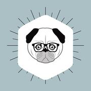 Hipster style pug dog  image Piirros
