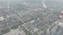 Drone shot of oil refinery, storage tanks, petrochemical industry China Stock Footage