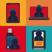 Cyber security system and media design Stock Illustration