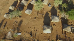 Aerial view of a small african village Stock Footage