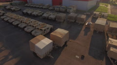 Flyover Military Depot Humvees Stock Footage