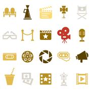 Cinema retro icons set Piirros