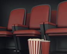 3d Cinema clapper board and popcorn on theater seat. Stock Illustration