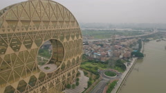 Aerial drone view of futuristic office building, architecture in China Stock Footage
