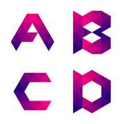 Series of geometric letters a, b, c, d Stock Illustration