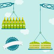 Crane with green grapes and wine Stock Illustration