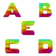 Alphabet colorful letters a to e Stock Illustration