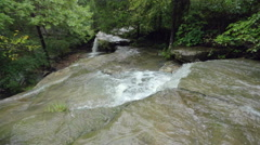 Wide Detail of Flowing Creek at a Waterfall in Slow Motion Stock Footage