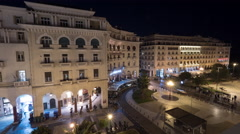 Timelapse in Thessaloniki, Greece seen evening city with architectural buildings Stock Footage