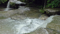 Detail of Flowing Creek at a Waterfall in Slow Motion Stock Footage