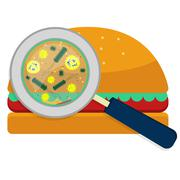 Hamburguer with bacteria Stock Illustration