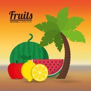 Watermelon apple and lemon fruit design Stock Illustration
