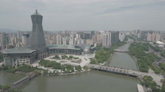 Aerial drone shot of a modern business and entertainment center Hangzhou China Stock Footage