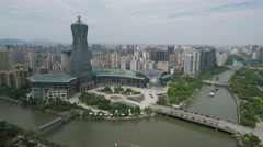 Aerial drone shot of a modern business and entertainment center Hangzhou Stock Footage