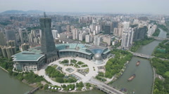 Establishing drone shot of Hangzhou city in Eastern China Stock Footage