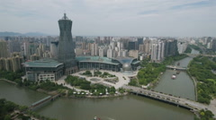 Aerial view of entertainment business center, architecture Hangzhou China Stock Footage