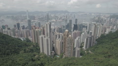 Aerial drone flight over commercial and residential towers skyline Hong Kong Stock Footage