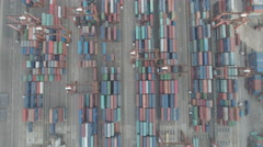 Abstract overhead footage of colorful containers in the harbor of Hong Kong Stock Footage
