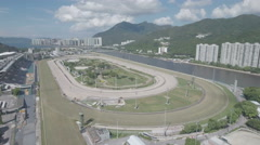 Aerial view of Sha Tin horse racing course track venue in Hong Kong Stock Footage