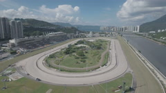 Drone shot of horse racing track in Hong Kong Stock Footage