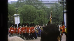 1969: military parade with a standard-bearer before a small crowd IRELAND Stock Footage