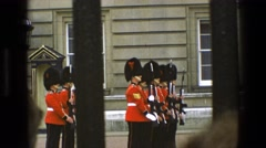 1969: military parade in colorful uniforms and carrying weapons IRELAND Stock Footage